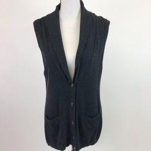 Ann Taylor Loft Dark Gray Vest Cardigan Sweater M